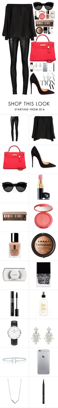 """""""Out"""" by julia-wst ❤ liked on Polyvore featuring Yves Saint Laurent, Balmain, Hermès, Christian Louboutin, Chanel, Urban Decay, tarte, Clinique, LORAC and MAC Cosmetics"""