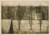 "Four Trees n.d. Ryonosuke Fukui Japanese, 1923–1986 Etching with aquatint 15 x 21 1/4 "" University acquisition, 1986"