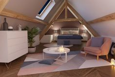 MADE.COM: How to arrange a room under the eaves? Bedroom Furniture, Bedroom Decor, Parents Room, Loft Room, Attic Rooms, Attic Bedroom Designs, Scandinavian Home, My New Room, Dream Bedroom