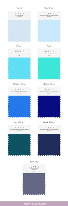 Azazie Blue Swatch Set 1 (9 shades * 6 fabrics) Mist, Sky Blue, Pool, Spa, Ocean Blue, Royal Blue, Ink Blue, Dark Navy, Stormy, Bridesmaid dress, Wedding, Wedding gown,