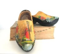 Vintage Wooden Shoes Dutch Clogs Windmill Holland