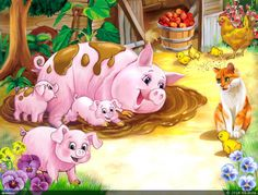 The Three Little Pigs Farm Animals, Cute Animals, Animal Poems, Pig Illustration, Pig Art, Cute Piggies, Animal Habitats, Three Little Pigs, Farm Yard
