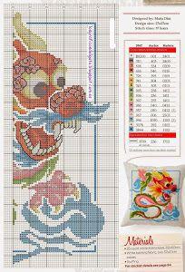 Bonito gráfico de un cojín de un dragón chino...