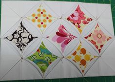 "Cathedral Window tutorial. Only the centers are hand-sewn. She has instructions to do the blocks on the machine. ""To make the background for my cathedral window quilt, I machine sew each one of the units. I am terrible at folding, allergic to irons, and despise pins. In this method of Cathedral Window Quilt making, I try to avoid them all."""