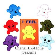 PATTERN SET Feelings  Busy Bag School tool Embroidery Design In The Hoop Pattern (17.00 USD) by OhanaAppliqueDesigns