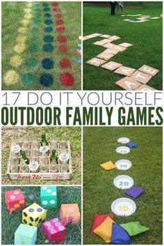 diy outdoor Fun summer outdoor game ideas that are perfect for a party, BBQ, family reunion, summer camp - any thing at all! All of these DIY outdoor games are easy to make at home - some with items you already have on hand! Backyard Party Games, Outdoor Party Games, Outdoor Games For Kids, Lawn Games, Kids Picnic Games, Outside Party Games, Party Games For Kids, Bbq Party Games, Outdoor Activities For Adults