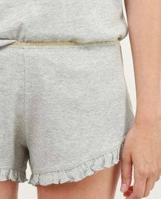 Short homewear volanté gris chiné