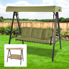 Garden Winds A-Frame Swing Replacement Canopy - RipLock Office Furniture Stores, Cool Furniture, Small Canopy, A Frame Swing, Yard Swing, Interior Design Pictures, Awning Canopy, Green Cushions, Replacement Canopy