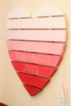 Isn't this fun?! Make this DIY Valentine craft to creat a heart shaped chalkboard using chalkboard paint. Then leave love notes! ♥