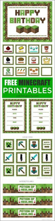 Planning a kids' party? Need inspiration? How about a Minecraft-themed party? I've pulled together lots of fun ideas for Minecraft fans to help you plan the perfect event. Let's party! Minecraft Party Supplies, Minecraft Party Food, Minecraft Birthday Party, 6th Birthday Parties, Birthday Fun, Minecraft Crafts, Minecraft Cake, Minecraft Food Labels, Minecraft Cupcake Toppers