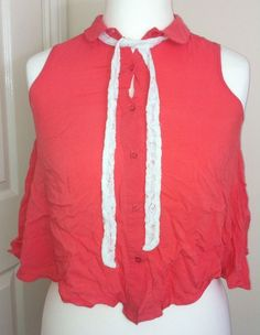 New - Womens RIVER ISLAND Coral Button Front Sleeveless Crop Blouse Top - UK 10
