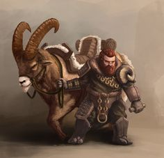 ArtStation - Dwarf with mount, Leonards Vuškārnieks