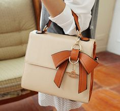 #Sweet Women's #Tote Bag With Color Matching and #Bow Design (KHAKI) | Sammydress.com
