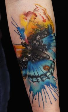 Lianne Moule - watercolor butterfly tattoo
