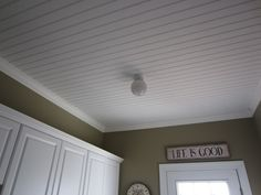 """For that dreadful """"eggwhite peaked"""" ceiling.  Beadboard Ceiling"""
