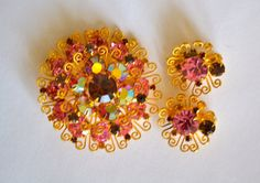Pink Crystal Art Deco Brooch & Earring Set Flower by ESTATENOW, $37.50