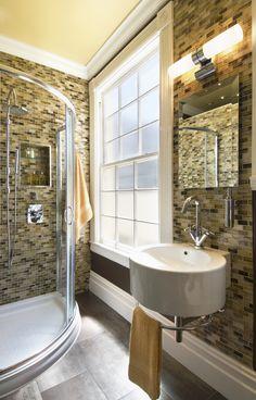 """sleek & masculine"" gentleman's bathroom in an apartment in San Francisco's Pacific Heights neighborhood featured in Small Kitchen magazine"