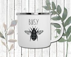 Busy Bee Enamel Coffee Mug | Perfect gift for Nature Lovers | Inspirational Mug | Perfect gift for Mom | Perfect gift for Teacher Perfect Gift For Dad, Gifts For Dad, Hot Coffee, Coffee Mugs, Gifts For Nature Lovers, Porcelain Mugs, Busy Bee, Cream And Sugar, Teacher Gifts
