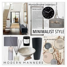 """Minimalist Makeover"" by calamity-jane-always ❤ liked on Polyvore featuring interior, interiors, interior design, home, home decor, interior decorating, Better Homes and Gardens, Basset Mirror Company, Uttermost and Lemnos"