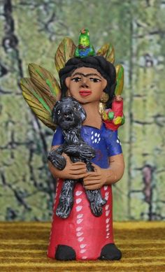 Josephina Aguilar - Frida Kahlo with Monkey & Parrots - Mexican Folk Art Pottery