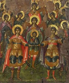 The Assembly of the Archangels (synaxis ton asomaton). Byzantine, Constantinople or Crete Late 15th century. Tempera on gold ground and gesso on wood. The origins of the feast (.:'Arkhangelsky Sobor',Gk.: 'Synaxis Ton Asomaton') probably date from the 10th century; the earliest images are found in the 11th century. The Greek word Asomatos (a = not, somatos = physical) means here non-bodily or spiritual as opposed to earthly and physical.