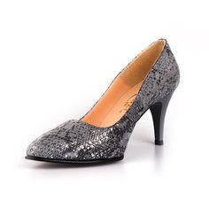 Pantofi stiletto din piele naturala Leofex -558 Gri Velur Croco Kitten Heels, Pumps, Shoes, Fashion, Choux Pastry, Shoes Outlet, Fashion Styles, Pump Shoes, Shoe