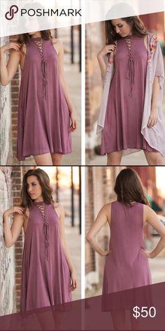 "Mauve Vintage Wash Lace up Dress Sleeveless Lace up dress.                                                          BUST: S-17"", M-18"", L-19"".                                                              LENGTH: S-35.5"", M-36.5, L-37.5"".                                               94% rayon and 6% spandex Dresses"