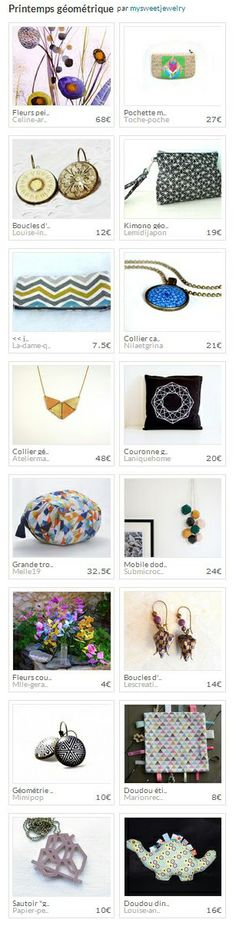"""Collection """"Printemps géométrique"""" par mysweetjewelry. http://www.alittlemarket.com/collection/printemps_geometrique-301033.html"""
