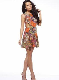 Circle Print Sleeveless Dress with Side Cut Outs,  Dress, cutout dress  print, Chic
