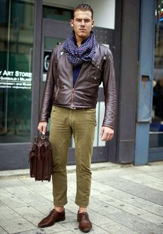 Leather Jacket, Scarf, Olive Jeans, Leather Mans Bag.  Men's Fall/Winter Fashions.