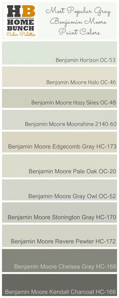 Most Popular Gray Benjamin Moore Paint Colors. Benjamin Moore is located at the Resource Center (Michigan Design Center) Benjamin Moore Pale Oak, Benjamin Moore Paint, Benjamin Moore Horizon, Kendall Charcoal Benjamin Moore, Benjamin Moore Moonshine, Benjamin Moore Chelsea Gray, Benjamin Moore Colors, Interior Paint Colors, Paint Colors For Home