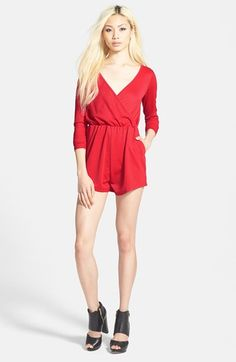 Free shipping and returns on GLAMOROUS Wrap Front Romper at Nordstrom.com. The long-sleeve bodice of this seductive vintage-look romper is styled with a plunging wrap front trimmed with piping for a flattering neckline. Ruffled mini shorts complete the ensemble with leg-flaunting gusto.
