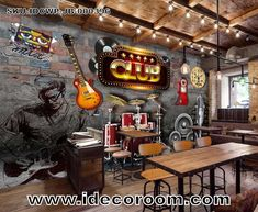 Club Poster With Music Icons Art Wall Murals Wallpaper Decals Prints Decor icon Club Poster With Music Icons Art Wall Murals Wallpaper Decals Prints Decor Cafe Interior, Interior And Exterior, Club Poster, Brick Wall Background, Music Wall, Dark Interiors, Cafe Design, Restaurant Design, Wall Murals