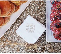 Donuts For Each Other Napkins Hot Pink set of 25 by LHCalligraphy