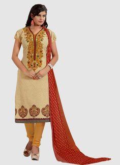 Precious Cream Resham Work Churidar Designer Suit