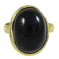 Gold Plated Jewelry Oval Onyx Stone Ring  Fashion Jewellery Ring Sz Adjustable
