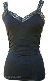 Styles2you Clothing Corset & Lace Undershirt In Black