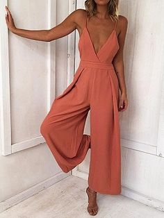 Shop for the Orange Spaghetti Strap V-neck Open Back Romper Jumpsuit online now.Choies.com offer the latest fashion women Jumpsuits at cheap prices with free shipping.