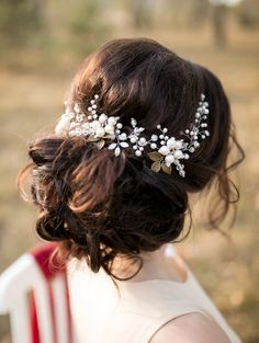 Ivory Bridal Hair Vine, Bridal Headpiece, Flower Headpiece, Crystal and Pearl Wedding Hairpiece, Wedding hair vine, Wreath, Bridal Hair Halo