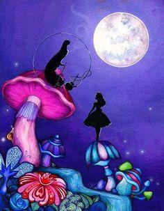 Alice in Wonderland with Caterpillar – Alice in Wonderland Decor – Whimsical Colorful Fantasy Wall Art – Original Alice Artwork Alice im Wunderland mit Raupe – wunderliche bunte Fantasie-Wandkunst – Giclée-Malerei-Druck von Annya Kai Art Disney, Disney Kunst, Lewis Carroll, We All Mad Here, Chesire Cat, Psy Art, 3d Fantasy, Illustration, Adventures In Wonderland