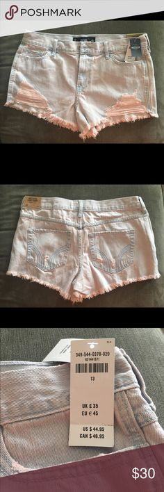 Pink tinted distressed shorts NWT 🛍Feel free to make offers but please no low-balling. Happy shopping!🛍 Hollister Shorts Jean Shorts