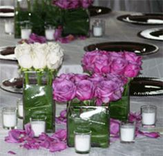 Purple and White Rose Wedding Table Centerpieces