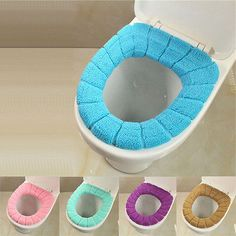 USA New Soft Bathroom Washable Toilet Seat Cover Closestool Lid Top Warmer Cloth