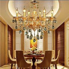 eu lager modern kristall kronleuchter mit 6 leuchten. Black Bedroom Furniture Sets. Home Design Ideas