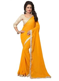 Yellow 60 Gram Georgette Casual Saree