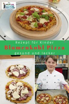 Blumenkohl Pizza - ein tolles (nicht nur) für Kinder - gesund und lecker! #kinderessen #pizzarezepte #pizzagesund #gemüsepizza #kinderessenmittag #kinderesseneinfach #kinderessenschnell #rezeptefürkinder #kinderpizza #blumenkohl #blumenkohlrezepte #kindergemüse #gemüserezeptefürkinder #disney #pizza Kindergarten, Tacos, Mexican, Disney, Ethnic Recipes, Food, Cauliflower Pizza, Recipes With Cauliflower, Kids Pizza