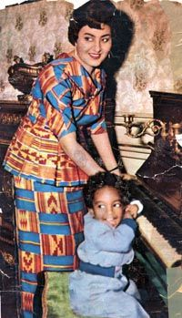 Born Fathia Rizk  February 22, 1932  Zeitoun, Cairo  Kingdom of Egypt to a Coptic family. Later she took her husband's last name, becoming Fathia Nkrumah, the First-First Lady of a independent Ghana of March 6, 1957.  In this picture, she's with her first child Gamal Nkrumah.