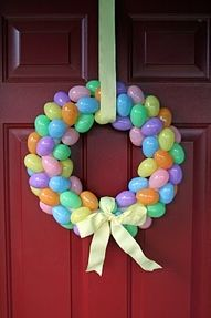 I love cheap crafts....dollar store easter wreath. Yes!