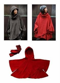 sewing pattern for free: blanket poncho Diy Clothing, Sewing Clothes, Clothing Patterns, Sewing Patterns, Sewing Hacks, Sewing Tutorials, Sewing Projects, Estilo Fashion, Diy Fashion