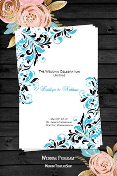 Wedding Program DIY - Printable Order of Service Template - Malibu Blue & Black.